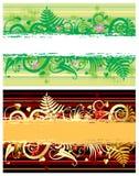Deux drapeaux floraux Photo stock