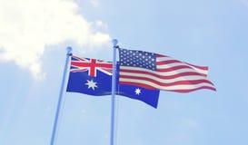 Deux drapeaux ondulant contre le ciel bleu illustration de vecteur