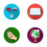 Deux drapeaux, un livre pour les abat-jour, une main avec un téléphone avec le texte traduit, un globe de la terre Interprète et Images stock