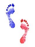 Deux empreintes de pas humaines Image libre de droits