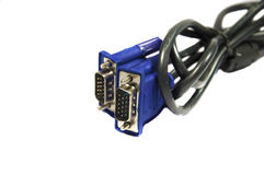 Deux en spirale et câbles attachés de VGA Photographie stock libre de droits