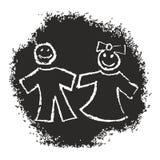 Deux enfants illustration de vecteur