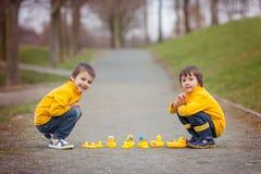 Deux enfants adorables, frères de garçon, jouant en parc avec le caoutchouc Images libres de droits