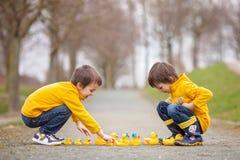 Deux enfants adorables, frères de garçon, jouant en parc avec le caoutchouc Photos libres de droits