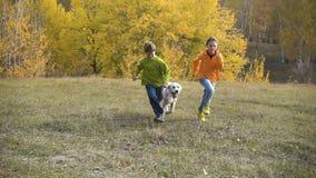 Deux enfants courant avec le golden retriever au champ clips vidéos
