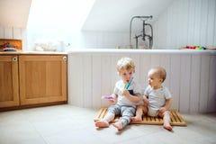 Deux enfants d'enfant en bas âge brossant des dents dans la salle de bains à la maison Photos stock