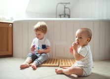 Deux enfants d'enfant en bas âge brossant des dents dans la salle de bains à la maison Image stock