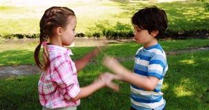 Deux enfants de mêmes parents jouant le jeu de applaudissement en parc banque de vidéos