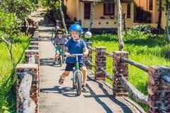 Deux enfants de petits garçons ayant l'amusement sur le vélo d'équilibre sur le pont Photographie stock