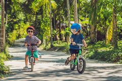 Deux enfants de petits garçons ayant l'amusement sur le vélo d'équilibre sur un pays Images libres de droits