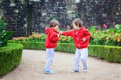 Deux enfants, frères de garçon, combattant dans le jardin, été Photographie stock libre de droits