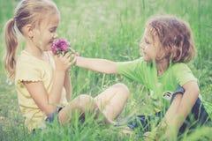 Deux enfants heureux jouant près de l'arbre au temps de jour Photo stock