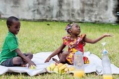 Deux enfants heureux pique-niquant dans un jardin photos stock