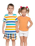 Deux enfants heureux sur le fond blanc Images libres de droits