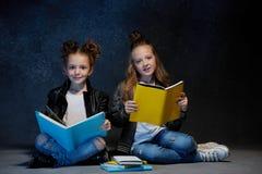 Deux enfants lisant les livres au studio Image libre de droits