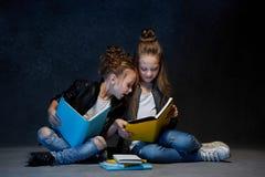 Deux enfants lisant les livres au studio Image stock