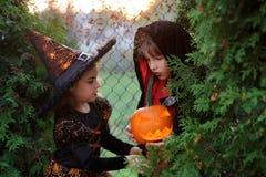 Deux enfants se sont habillés dans les costumes pour Halloween se cachent dans les buissons Images stock