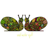 Deux escargots colorés Photographie stock