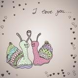 Deux escargots dans l'amour Photos libres de droits