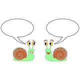 Deux escargots drôles de bande dessinée avec des bulles d'entretien Photographie stock