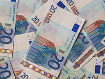 Deux euro notes avec la réflexion Photographie stock