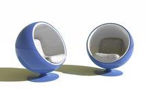 Deux fauteuils bleus ronds élégants Image libre de droits