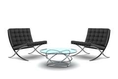 Deux fauteuils noirs avec la table d'isolement sur le blanc Photos stock
