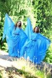 Deux femme, jumelles dans la forêt Photo libre de droits