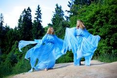 Deux femme, jumelles dans la forêt Photo stock