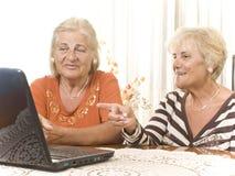 Deux femmes aînés avec l'ordinateur portatif images libres de droits