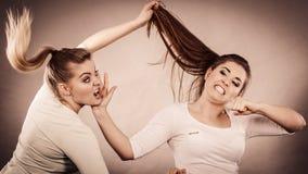 Deux femmes agressives ayant discutent le combat images stock