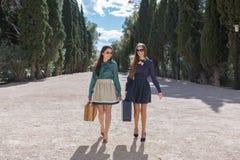 Deux femmes avec des valises marchant vers l'appareil-photo Images stock