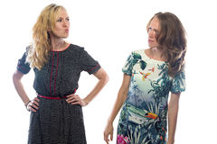 Deux femmes blondes fâchées Images libres de droits