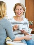 Deux femmes buvant du thé et parlant à l'intérieur domestique Photographie stock