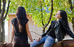 Deux femmes causant à l'extérieur Photographie stock