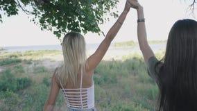 Deux femmes chaudes sexy marchant ensemble le long de la route à la forêt ou au parc Blonde et brune marchant le long de la route banque de vidéos