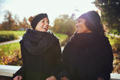 Deux femmes dans des vêtements chauds se tenant sur le pont en parc Images libres de droits