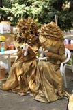 Deux femmes dans la robe florale d'or de mascarade Photo libre de droits