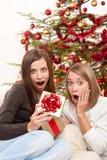 Deux femmes de sourire avec le cadeau de Noël Images stock