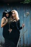 Deux femmes de vintage comme sorcières Images libres de droits