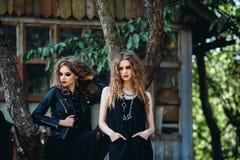Deux femmes de vintage comme sorcières Photo libre de droits