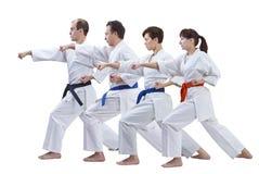 Deux femmes et deux hommes dans le karategi forment le bras de poinçon d'isolement Image stock
