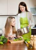 Deux femmes faisant cuire la nourriture Photos libres de droits