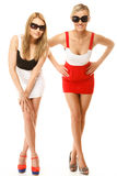 Deux femmes folles sexy en été vêtx des lunettes de soleil Image libre de droits