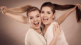 Deux femmes heureuses d'amis étreignant tenant des cheveux Images stock