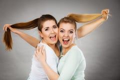 Deux femmes heureuses d'amis étreignant tenant des cheveux Photo stock