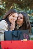 Deux femmes heureux - les filles causant sur des achats déclenchent Photo stock