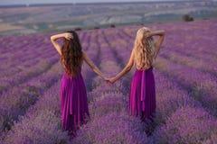 Deux femmes insouciantes tenir des mains appréciant le coucher du soleil dans le domaine de lavande harmonie Vue arrière de blond photos stock