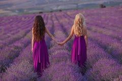 Deux femmes insouciantes tenir des mains appréciant le coucher du soleil dans le domaine de lavande harmonie Vue arrière de blond images stock