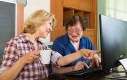 Deux femmes mûres passant en revue le Web Images stock